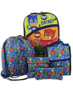 PJ Masks Boys Girls 5 piece 16 Inch Backpack Lunch Bag and Snack Bag School Set