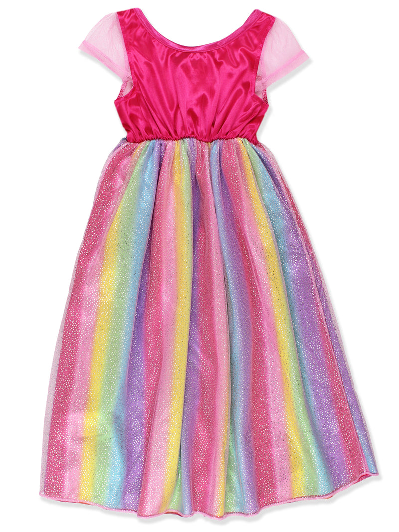 Barbie Girl's Rainbow Dress Up Fantasy Gown Nightgown Pajamas