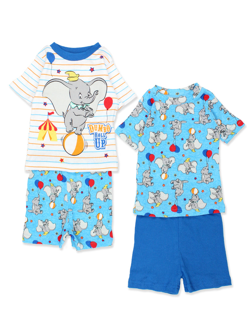 Disney Dumbo Toddler Baby 2fer 4 piece Short Sleeve Tee Shorts Cotton Pajamas Set
