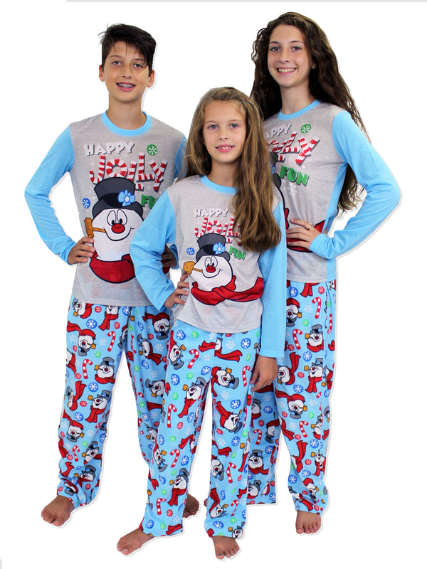 Frosty the Snowman Christmas Holiday Boys Girls Fleece Pajamas