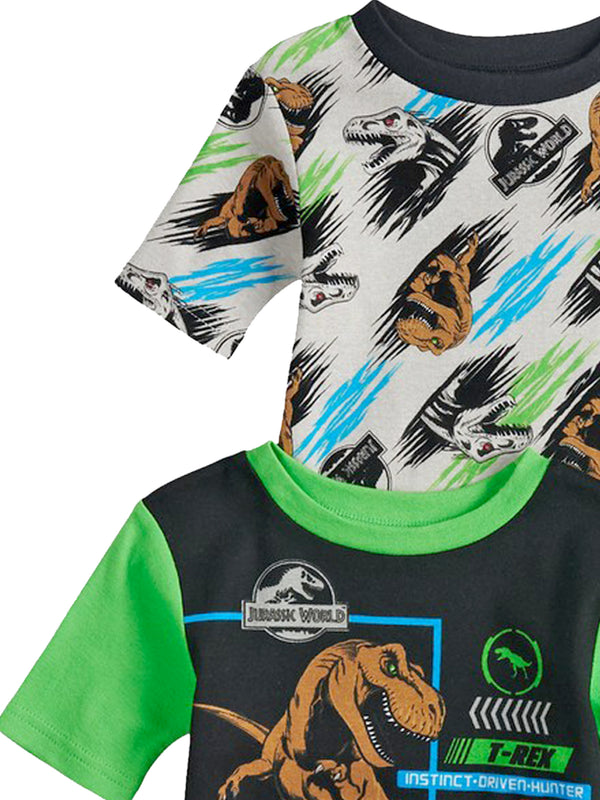 Jurassic World Dinosaur Boy's 2fer 4 piece Short Sleeve Tee Shorts Cotton Pajamas Set
