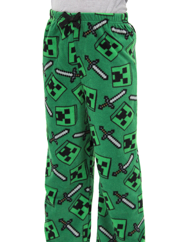 Minecraft Creeper Boys Plush Fleece Lounge Pajama Pants