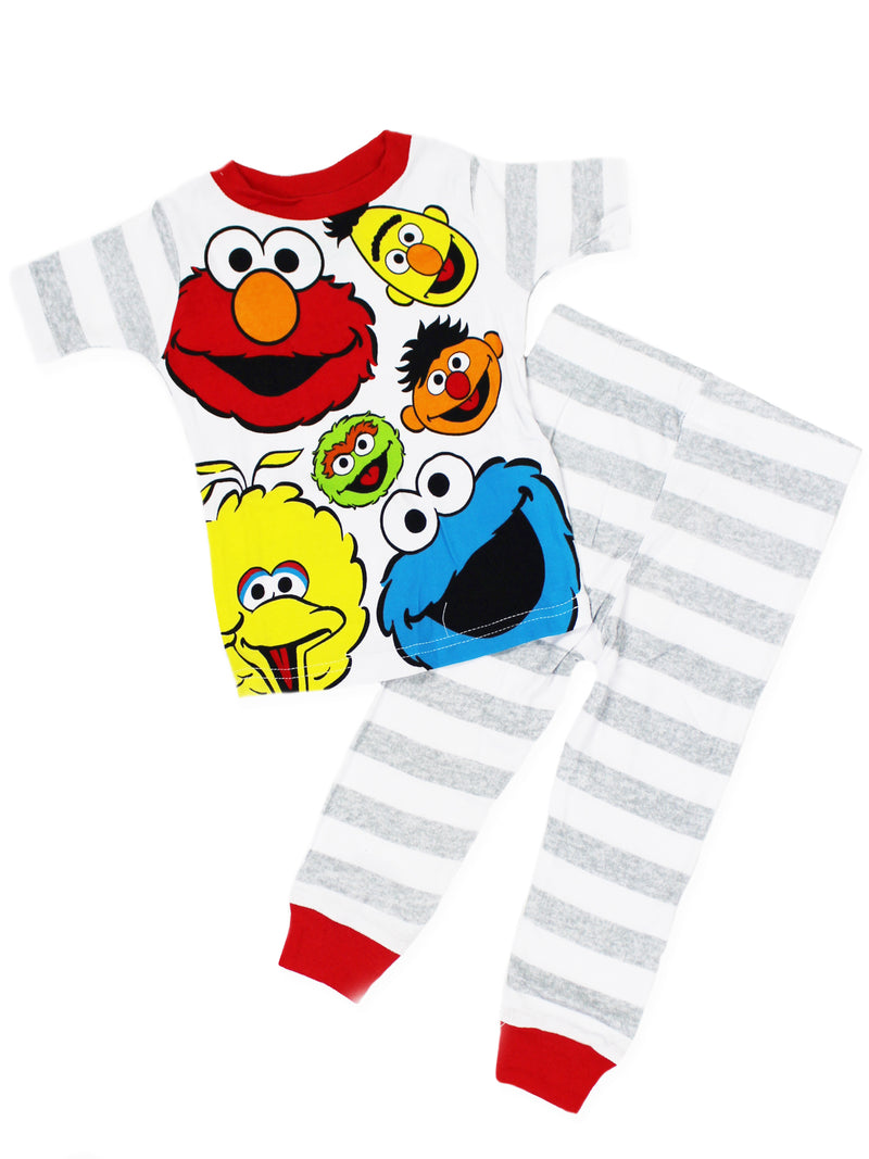 Sesame Street Gang Elmo Boys Girls Baby Toddler 4 piece Cotton Pajamas Set