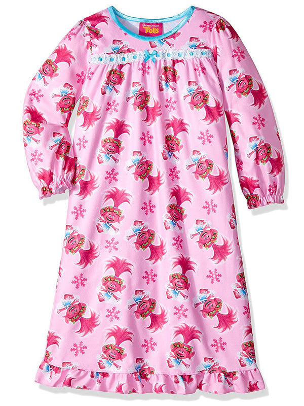 Trolls Toddler Girls Flannel Granny Gown Nightgown Pajamas