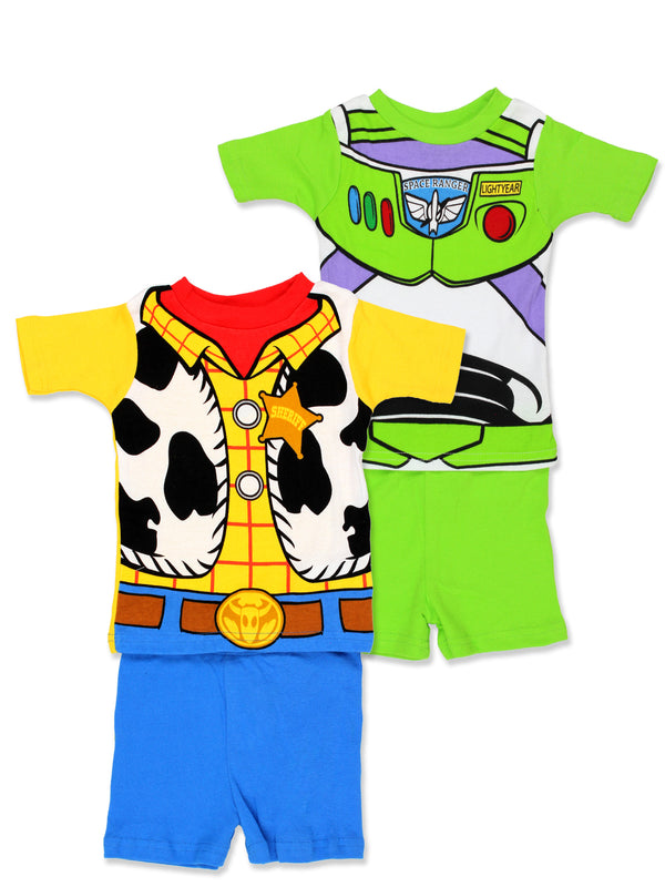 Toy Story 4 Boy's 2fer 4 piece Short Sleeve Tee Shorts Cotton Pajamas Set