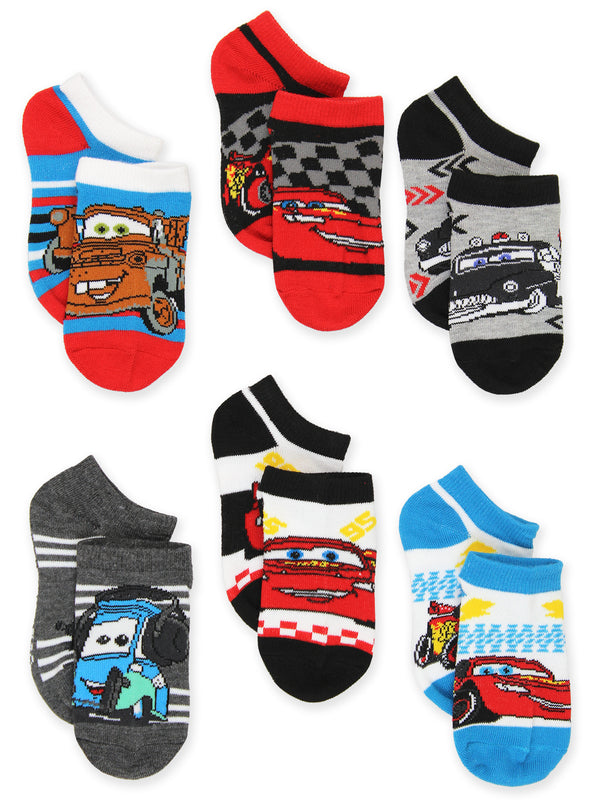 Disney Cars Toddler Boys 6 pack No Show Socks