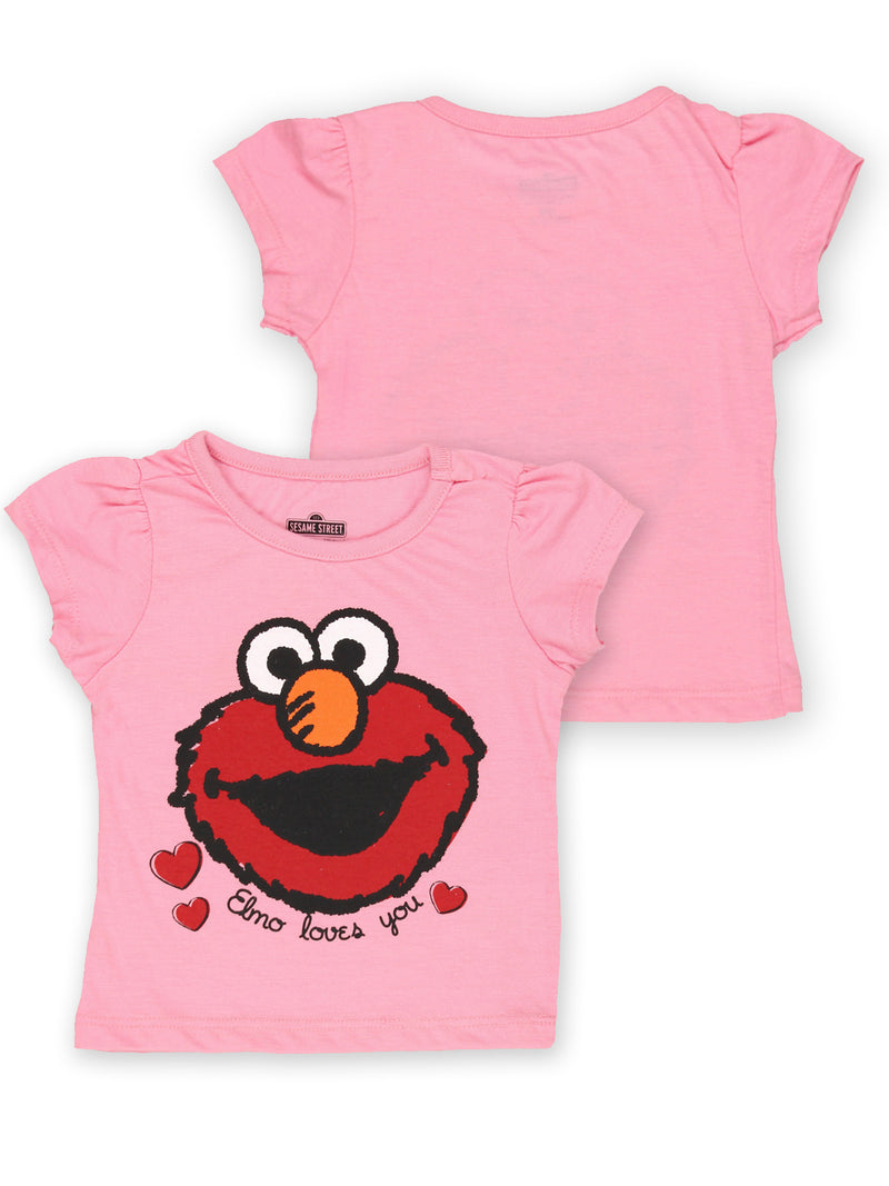 Sesame Street Elmo Toddler Baby Girls Short Sleeve T-Shirt