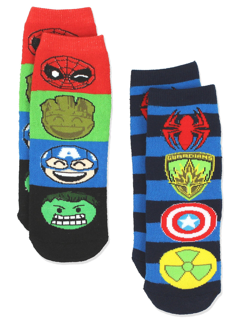 Marvel Comics 2 pack Boys Teen Adults Superhero Slipper Socks with Grippers