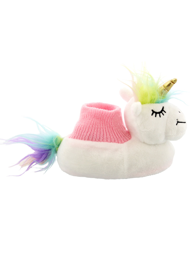 Yankee Toy Box Plush Unicorn Toddler Girls Sock Top Slippers