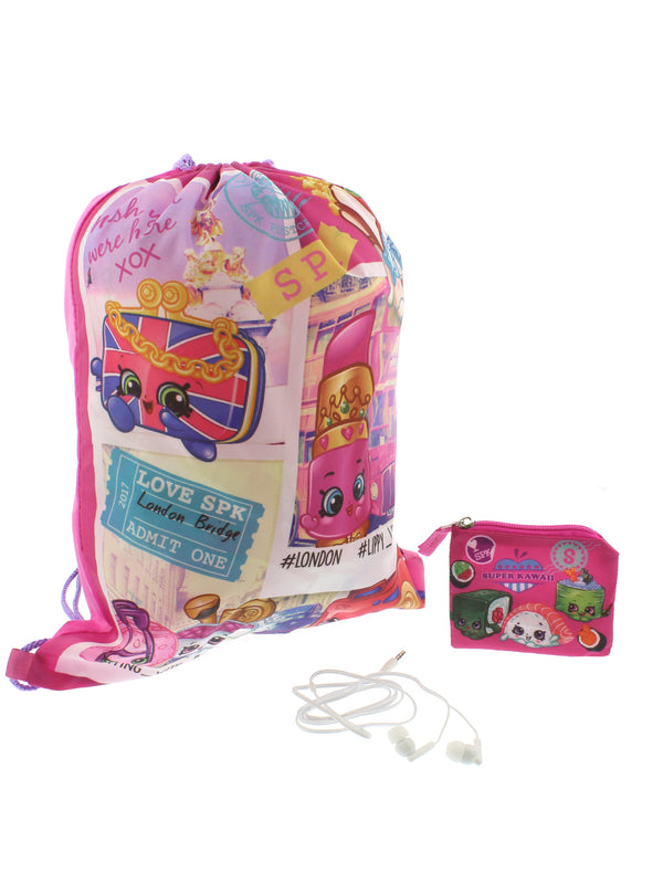 Shopkins Girls 3 piece Drawstring Backpack Headphones and Coin Purse Gift Set