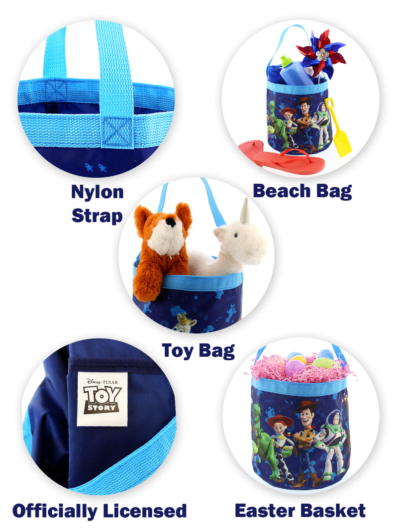 Toy Story 4 Boys Girls Collapsible Nylon Halloween Bucket Toy Storage Tote Bag