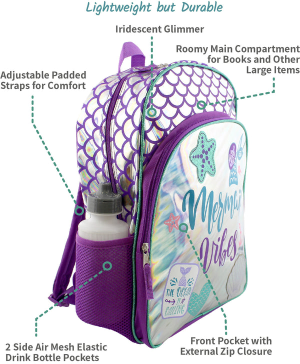 Mermaid Unicorn Girl's School Backpack Bag