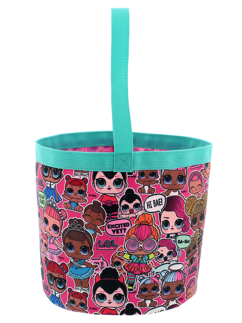 L.O.L. Surprise! Girls Collapsible Nylon Bucket Toy Storage Gift Tote Bag