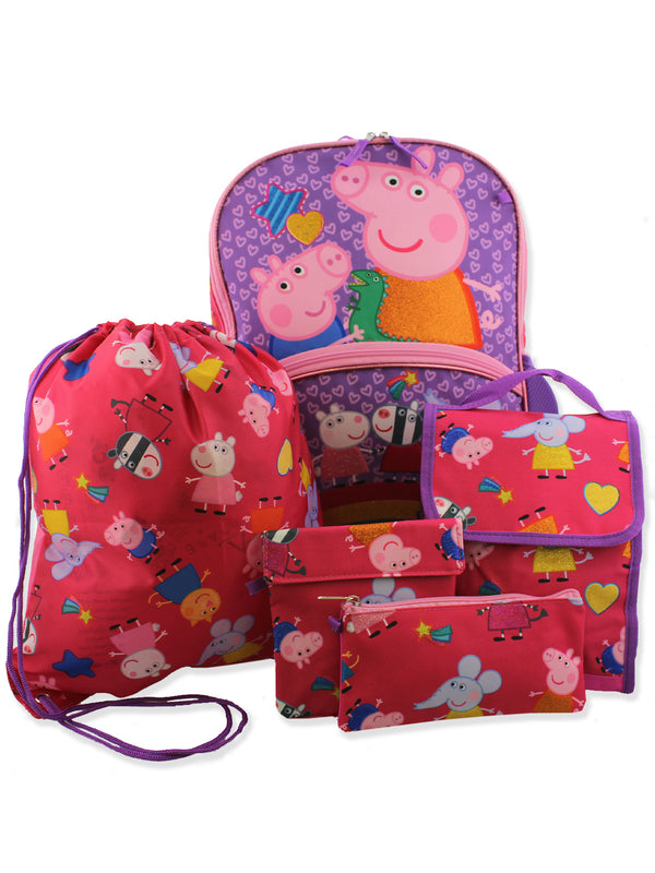 Peppa Pig Girls 5 piece Backpack and Lunch Bag School Set