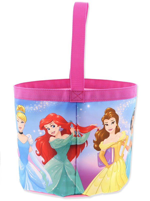 Disney Princess Girls Collapsible Nylon Gift Basket Bucket Toy Storage Tote Bag