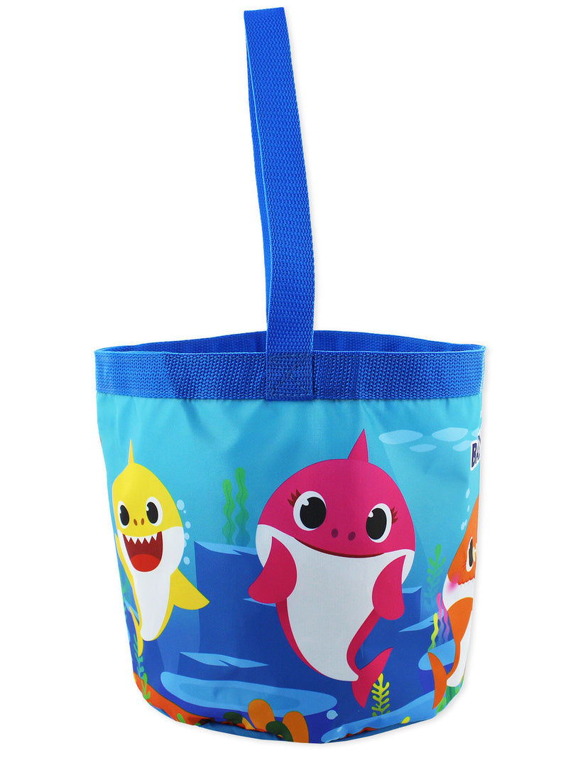 Baby Shark Boys Girls Collapsible Nylon Gift Basket Bucket Toy Storage Tote Bag