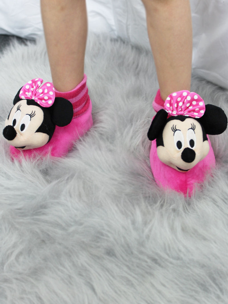 Disney Minnie Mouse Toddler Girls Plush 3D Minnie Head Sock Top Slippers