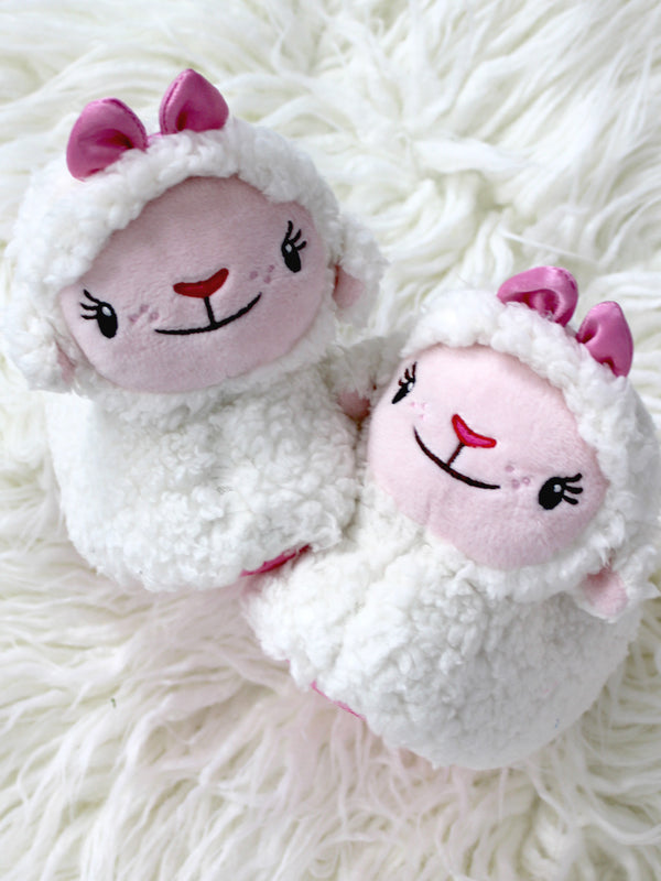 Doc McStuffins Toddler Girls 3D Lambie Plush Lamb Sock Top Slippers
