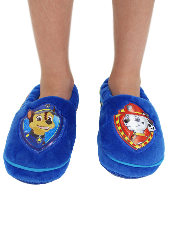 Paw Patrol Chase Marshall Toddler Boys Plush Aline Slippers
