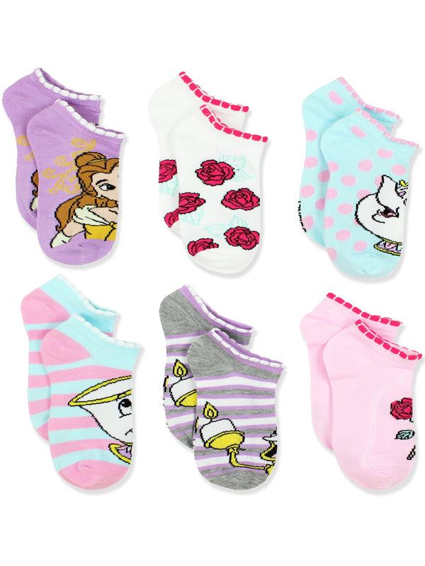 Disney Princess Belle Beauty and the Beast Girls Womens 6 pack Socks Set