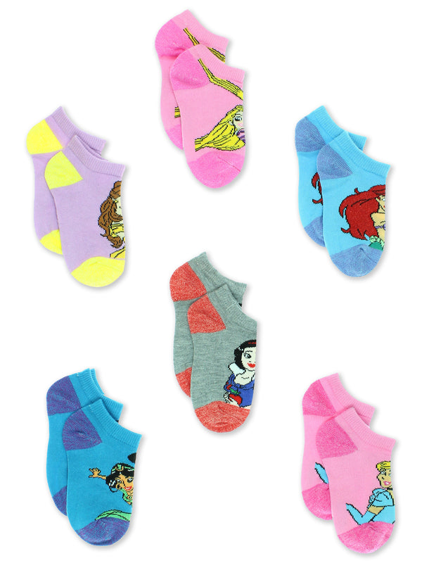 Disney Princess Girls Toddler 6 Pack No Show Socks Set