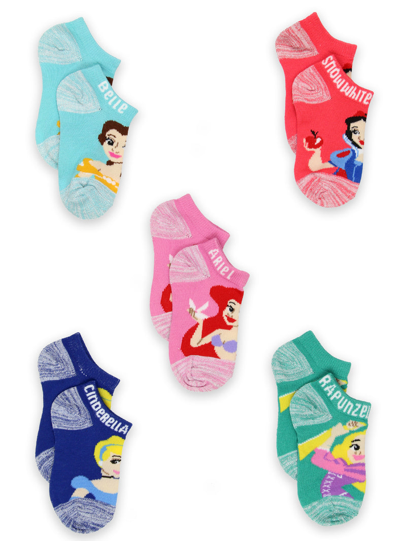 Disney Princess Girls Toddler 5 pack No Show Socks