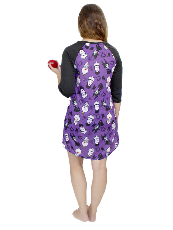 Disney Villains Women's 3/4 Sleeve Dorm Nightgown Pajamas