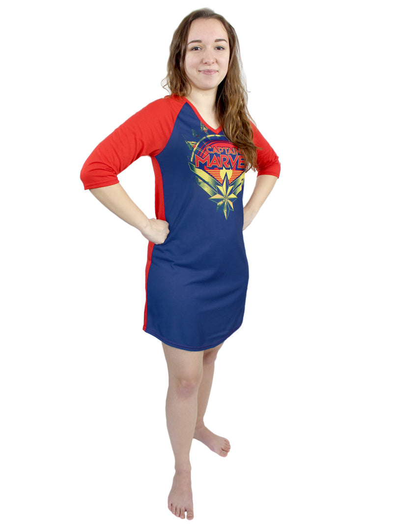 Captain Marvel Women's 3/4 Sleeve Dorm Nightgown Pajamas