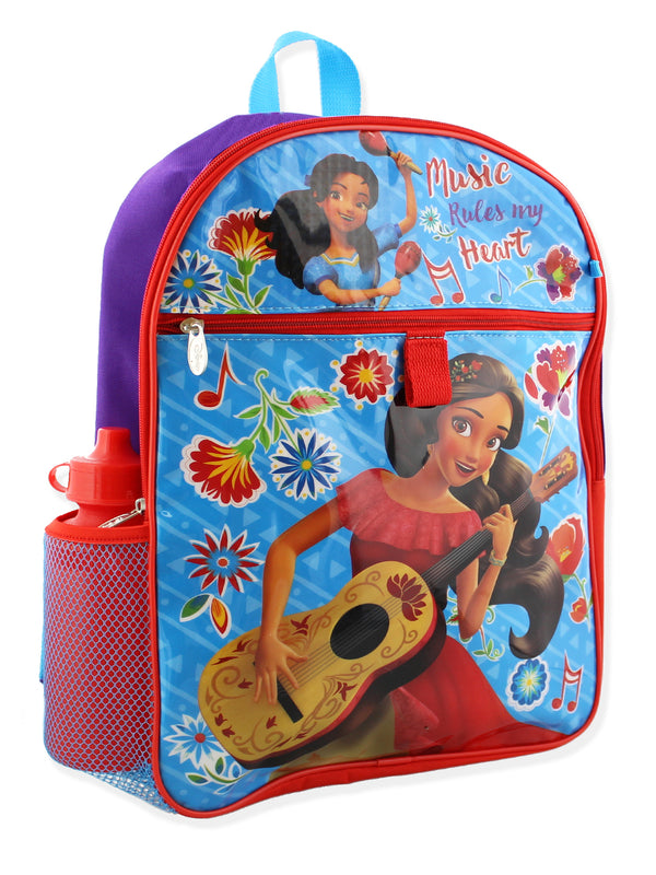Princess Elena of Avalor Girl's 5 piece Backpack and Snack Bag Set