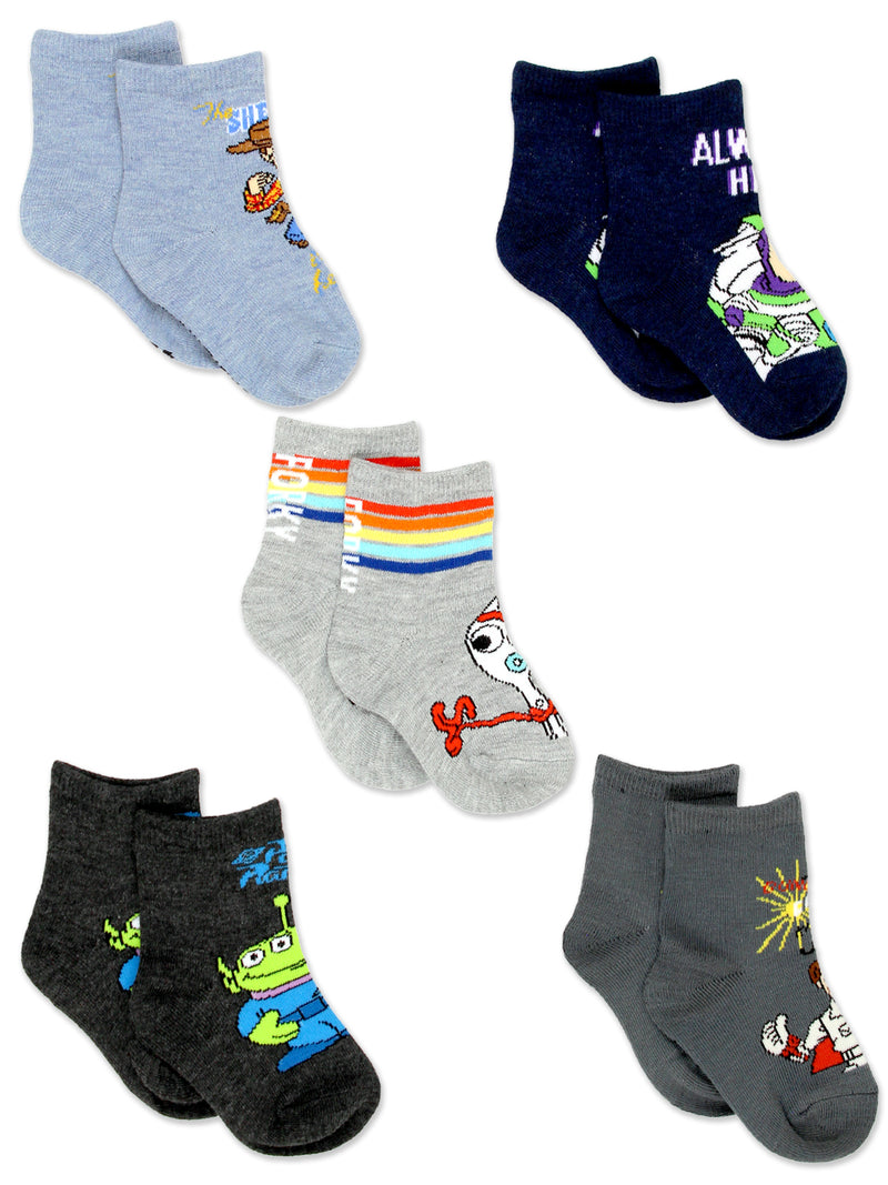 Disney Toy Story 4 Boys Girls Toddler 5 Pack Crew Sock Set