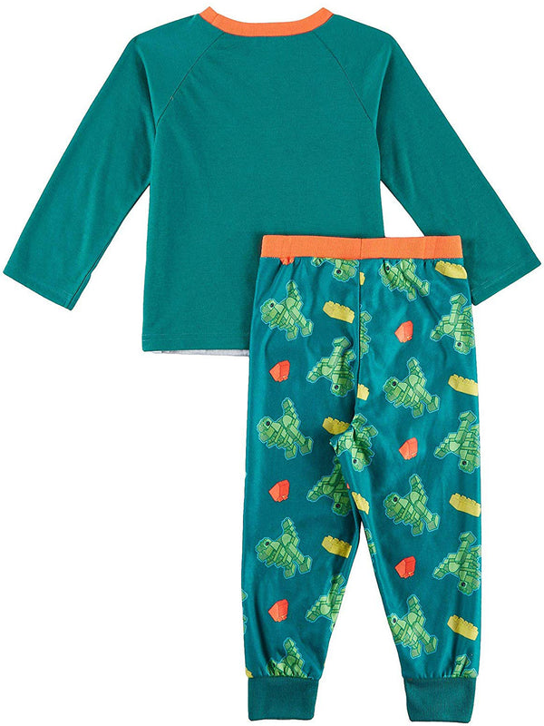 Lego Duplo Dinosaur Trucks Toddler Boys Poly Top with Flannel Jogger Pants Pajamas Set