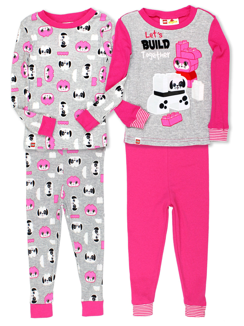 Lego Duplo Animals Toddler Girls 2fer 4 piece Long Sleeve Cotton Pajamas Set