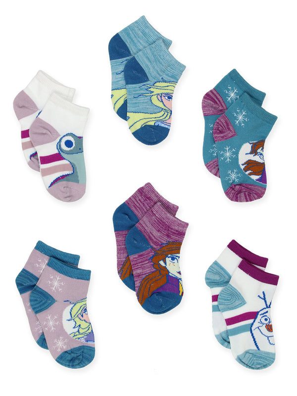 Disney Frozen 2 Anna Elsa Toddler Girls 6 Pack Quarter Socks Set