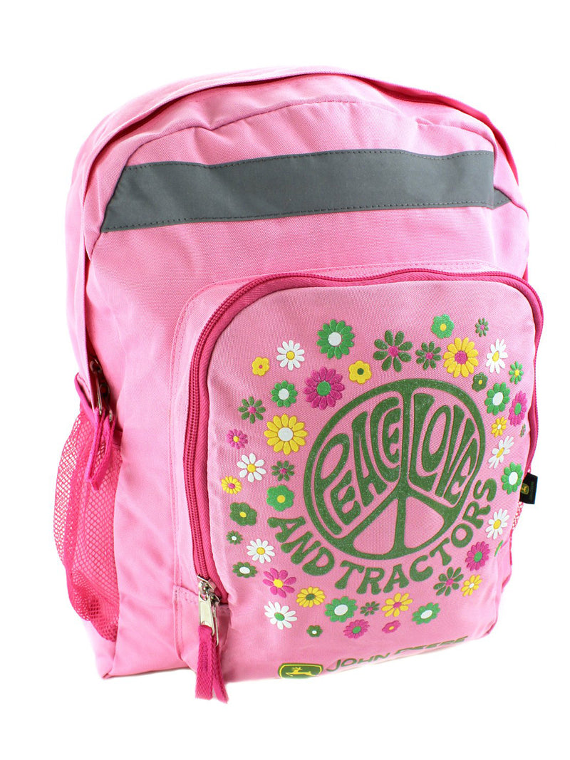 John Deere Peace Girls Youth 16 inch Pink Backpack