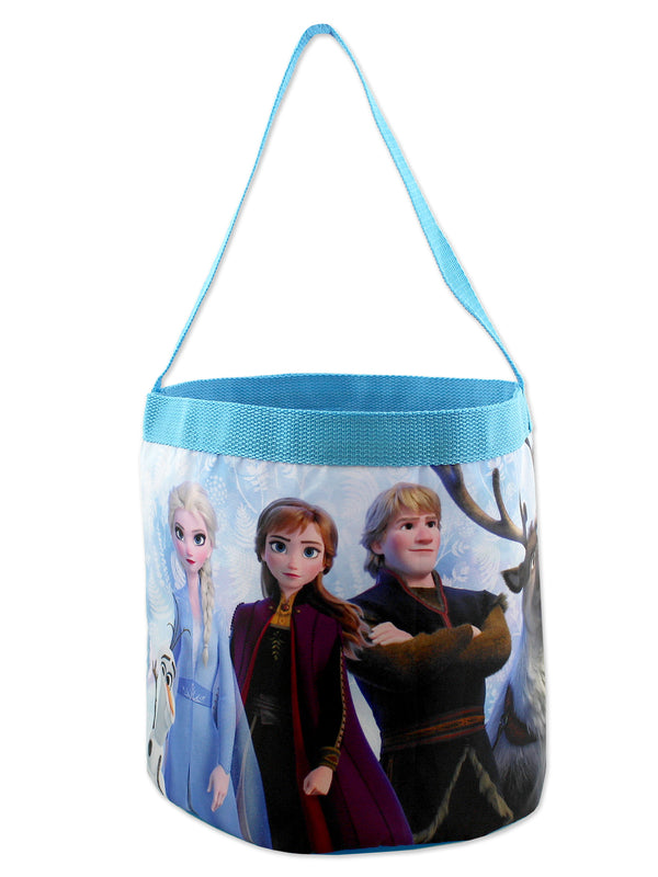 Frozen 2 Elsa Anna Girls Collapsible Nylon Gift Basket Bucket Toy Storage Tote Bag
