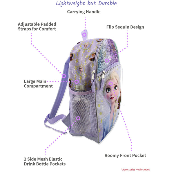 Frozen 2 Elsa Anna Girls Kid 16 inch Flip Sequin School Backpack