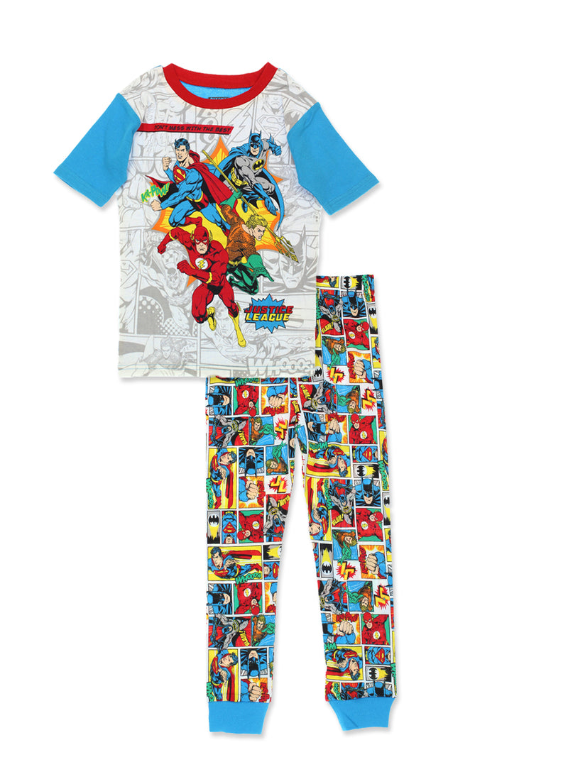 Justice League Boy's 2fer 4 Piece Short Sleeve Cotton Pajamas Set