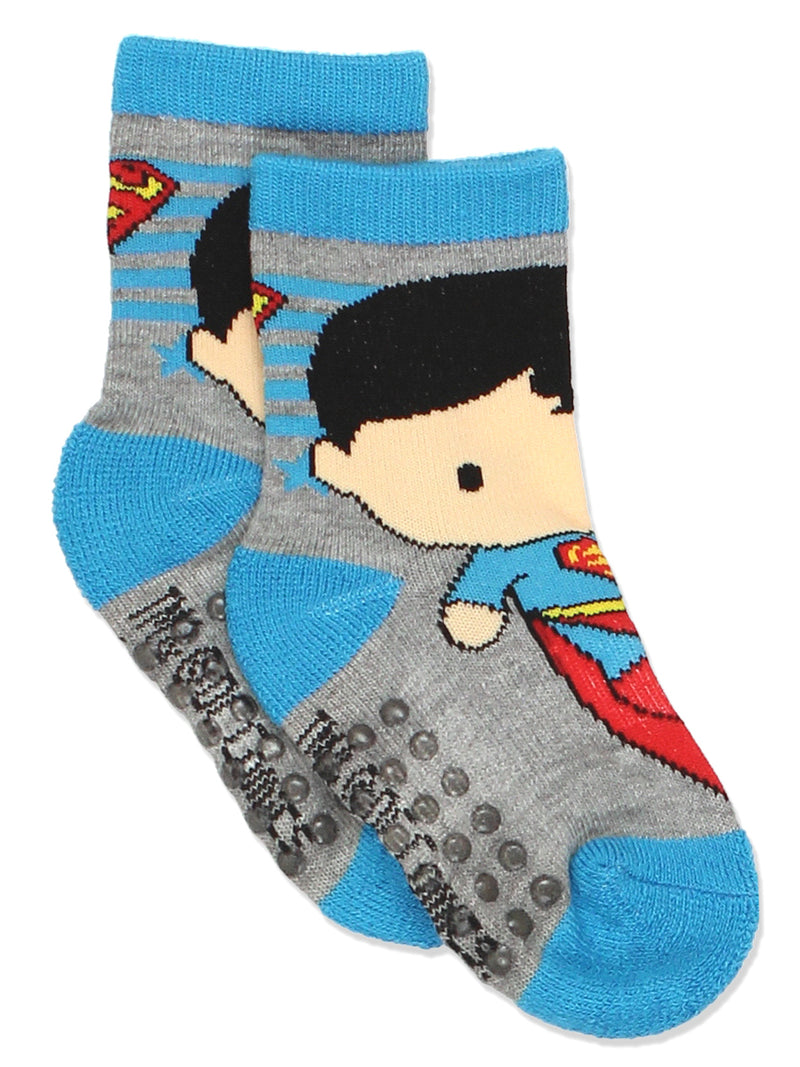 Batman Justice League Toddler Baby Boy's 6 pack Socks with Grippers