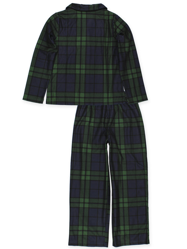 Komar Kids Holiday Green Plaid Big Girls 2pc Coat Pajamas