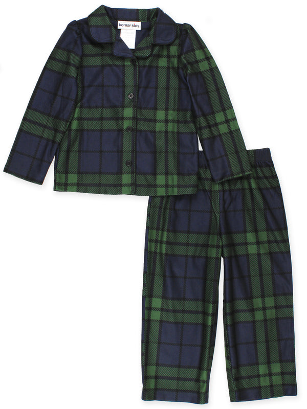 Komar Kids Holiday Green Plaid Toddler Girls 2pc Coat Pajamas