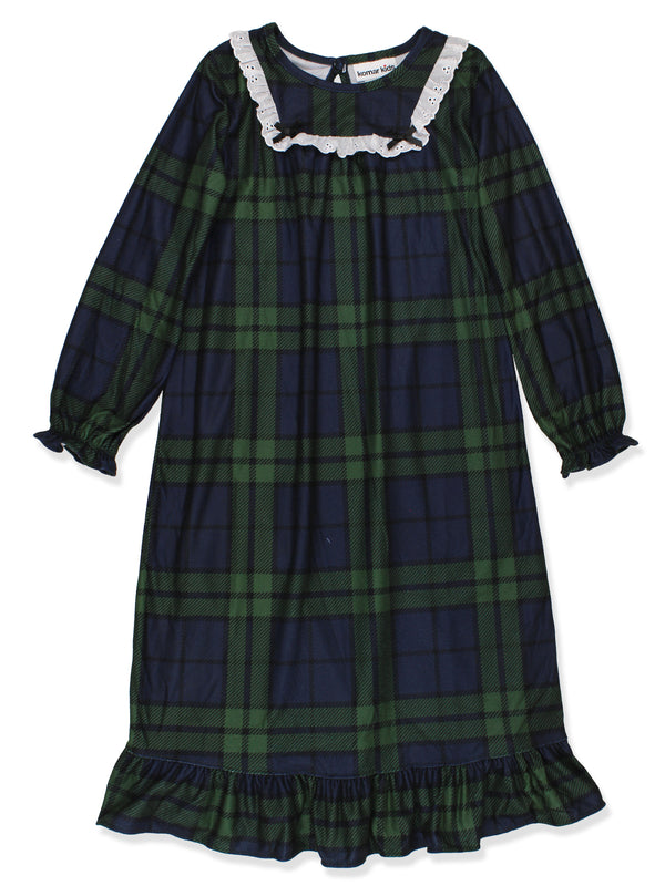 Komar Kids Big Girls Blue Green Plaid Christmas Holiday Nightgown Pajamas
