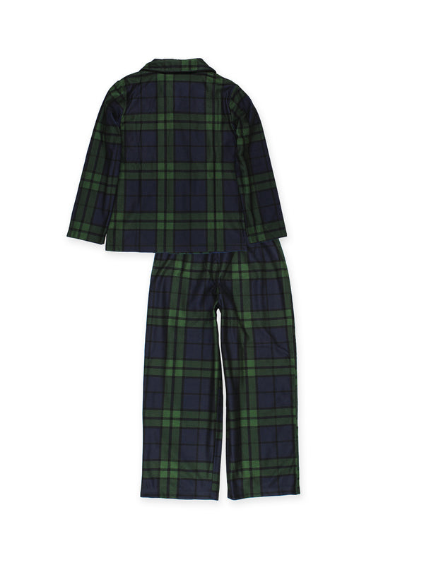 Komar Kids Big Boys Holiday Green Plaid Coat Style Pajamas Set