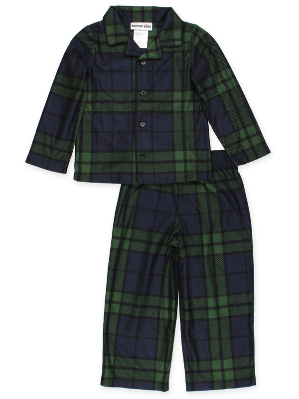 Komar Kids Toddler Boys Holiday Green Plaid Coat Style Pajamas Set