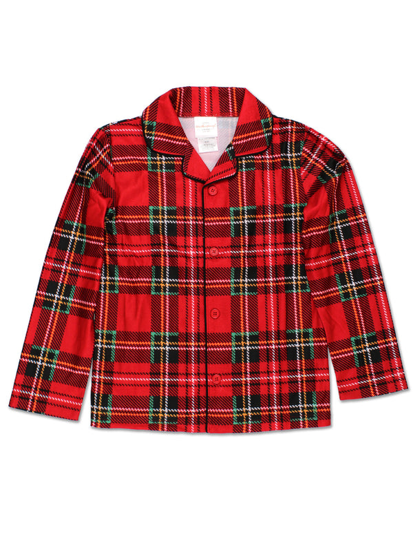 Komar Kids Boys Traditional Holiday Christmas Plaid Coat Style Pajamas Set