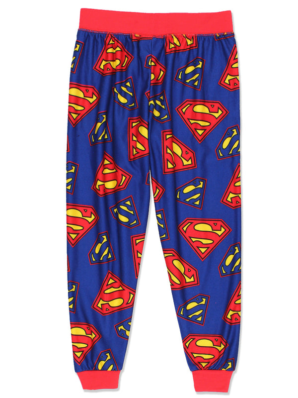 Superman Boys Jogger Style Flannel Pajama Lounge Pants