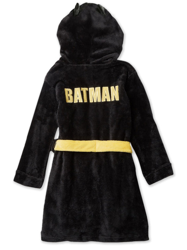 Batman Boys Plush Fleece Bathrobe Hooded Robe with Mask and Ears