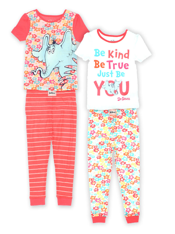 Dr. Seuss Toddler Girls Horton Hears a Who Cotton 4 Piece 2fer Pajamas Set<br>