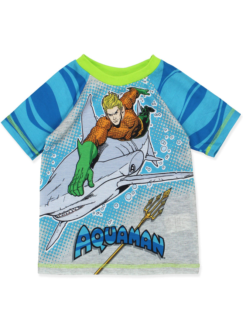 DC Comics Justice League Aquaman Boy's Short Sleeve Top and Shorts Pajamas Set