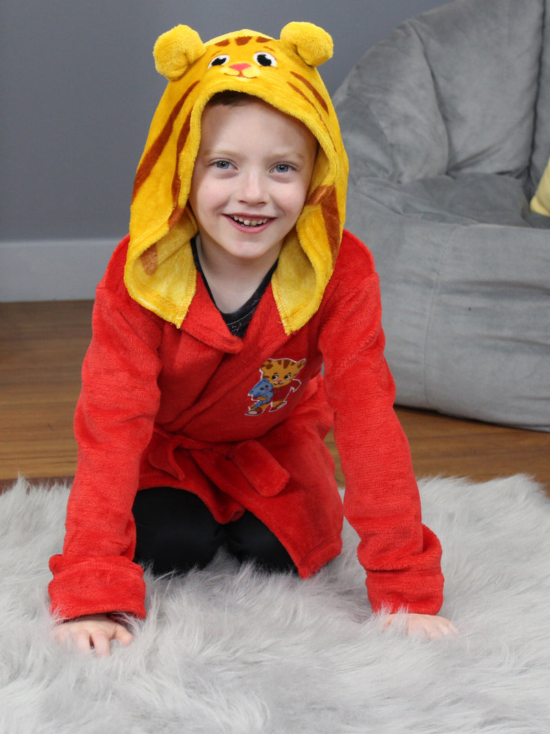 Daniel Tiger Toddler Boys Girls Hooded Plush Fleece Bathrobe Robe with Ears
