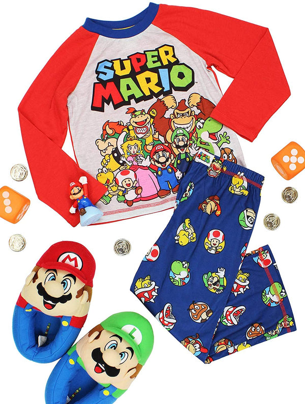 Super Mario Brothers Boys 2 Piece Long Sleeve Shirt and Pants Pajamas Set